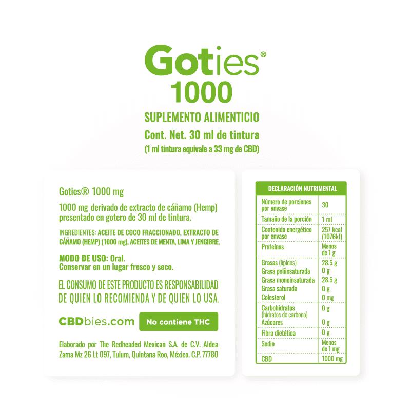 Goties 1000 - Información nutrimental
