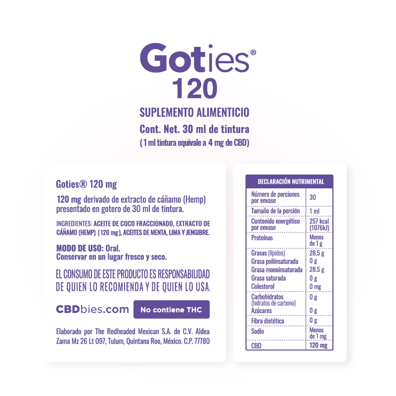 Goties 120 - Información nutrimental