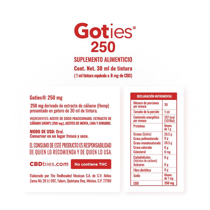 Goties 250 - Información nutrimental