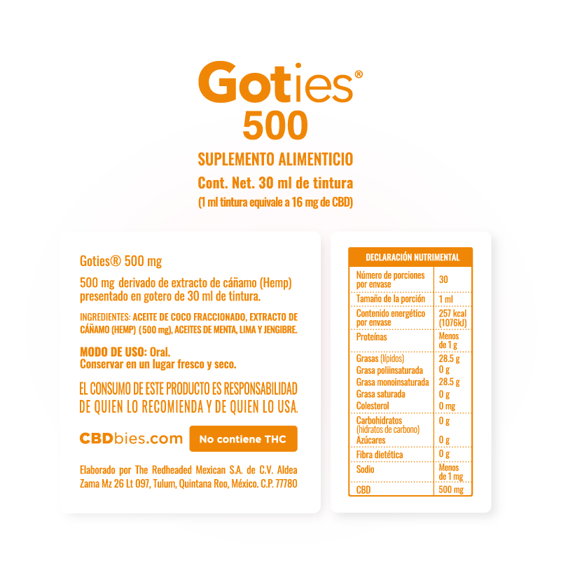 Goties 500 - Información nutrimental