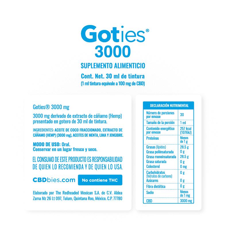 Goties 3000 - Información nutrimental